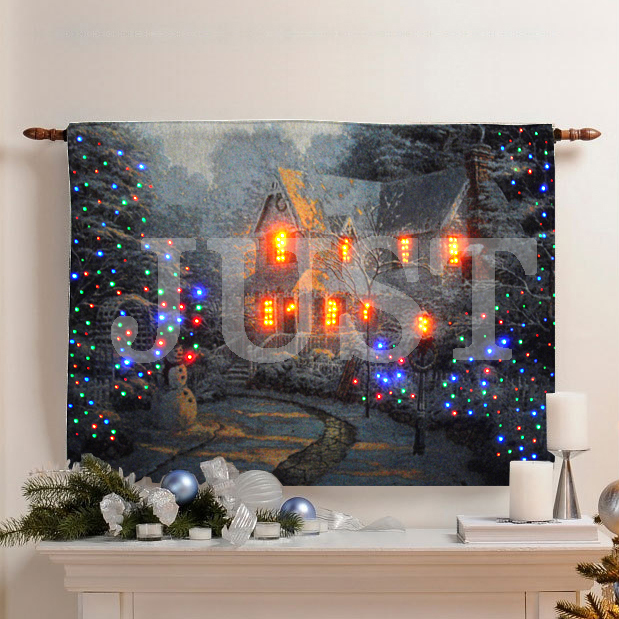 Fiber Optic Wall Hanging Tapestry With Lighted Christmas